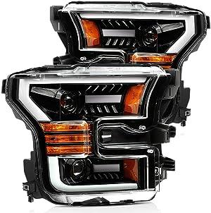 AlphaRex Jet Black PRO-Series Upgrade Model Projector Headlights fits 2015-2017 Ford F-150