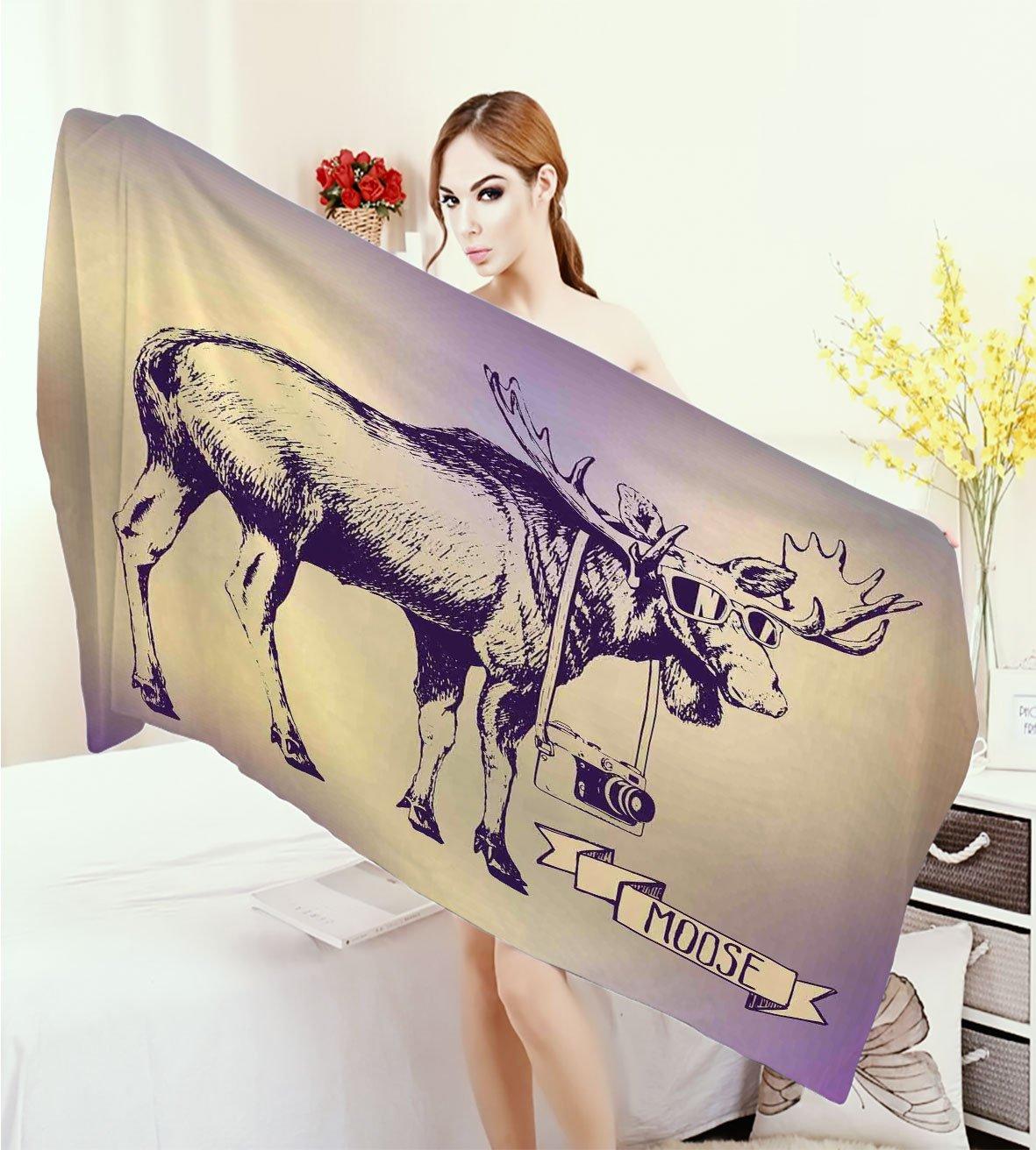 homecoco Moose Print fancy towels Hipster Deer with Shade Sunglasses and Camera Vintage Ombre Design Funny Animal Art Customized bath Towels Purple Beige