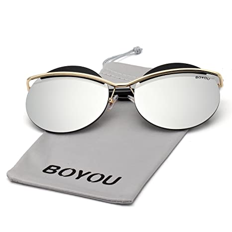BOYOU Lunettes de soleil Cat Eye Metal Frame Women avec lentilles miroir et  protection UV400 54b50878eebd