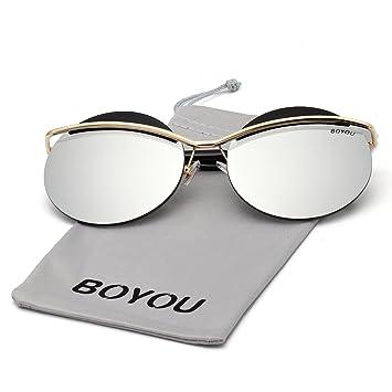 cea7333f96 BOYOU Marco de las gafas de sol del ojo de gato de metal las mujeres con  lentes de espejo y la protección UV400: Amazon.es: Deportes y aire libre