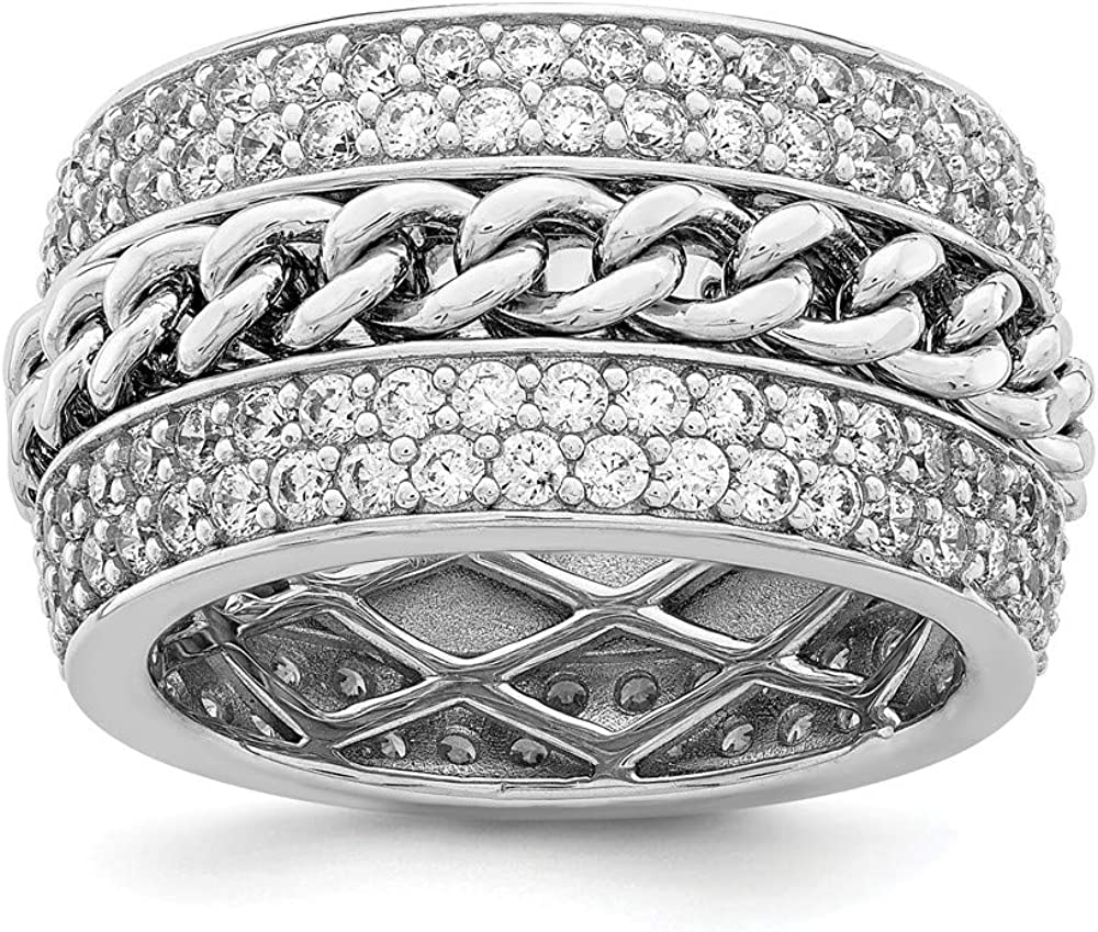 Sterling Silver Rhodium Plated CZ Spinning Chain Center Ring ...