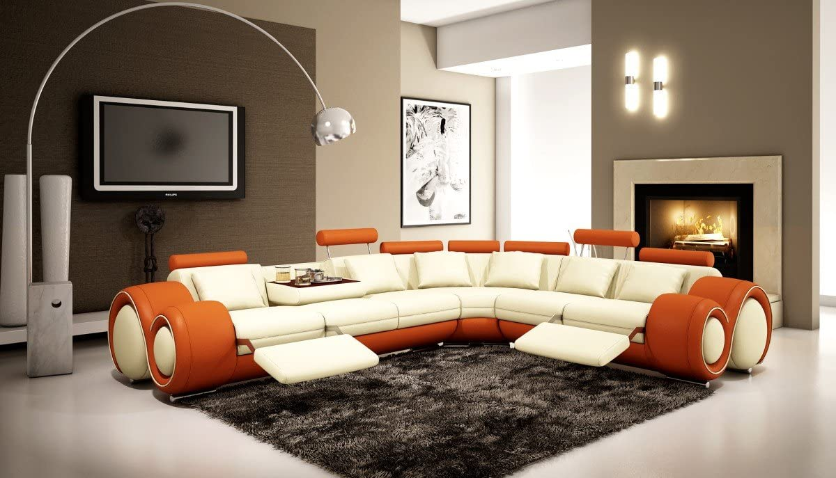 4087 Orange Off-white Bonded Leather Sectional Sofa With Built-in Footrests