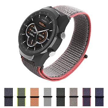 SIKAI Correa de Reloj para Amazfit Stratos Smartwatch 22mm Reemplazo de Nylon Ajustable Band de Nilón Tejido Bucles para Fossil Q Founder/Fossil Q Grant ...
