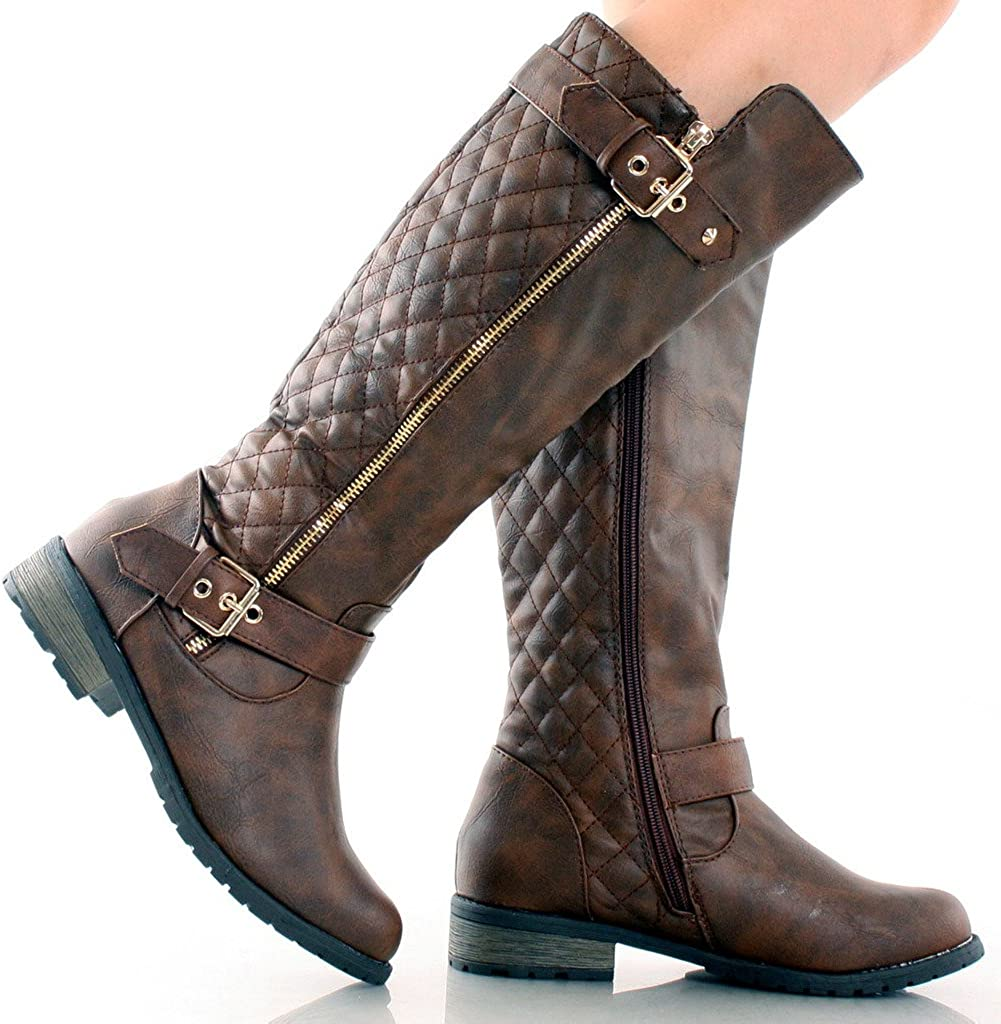 Forever Mango-21 Womens Winkle Back Shaft Side Zip Knee High Flat Riding Boots Brown 8