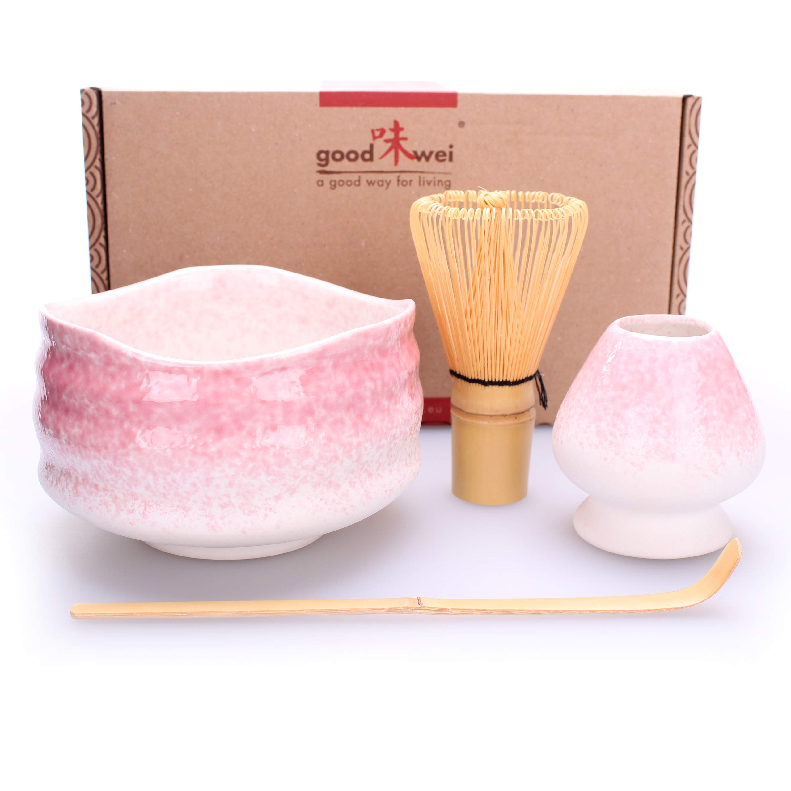 Goodwei Premium Matcha Tea Set ''Sakura'' - Ceremonial Bowl Chawan, Whisk and Holder - Gift Box (120)