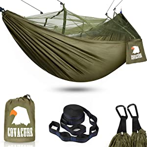 Covacure Camping Hammock with Mosquito Net