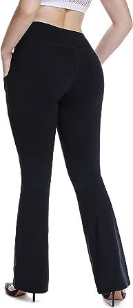 YOHOYOHA High Waist Plus Size Yoga Pants Pockets Bell Bottom Flare Bootcut Dress Pants Best Thick XL 2X 3X 4X