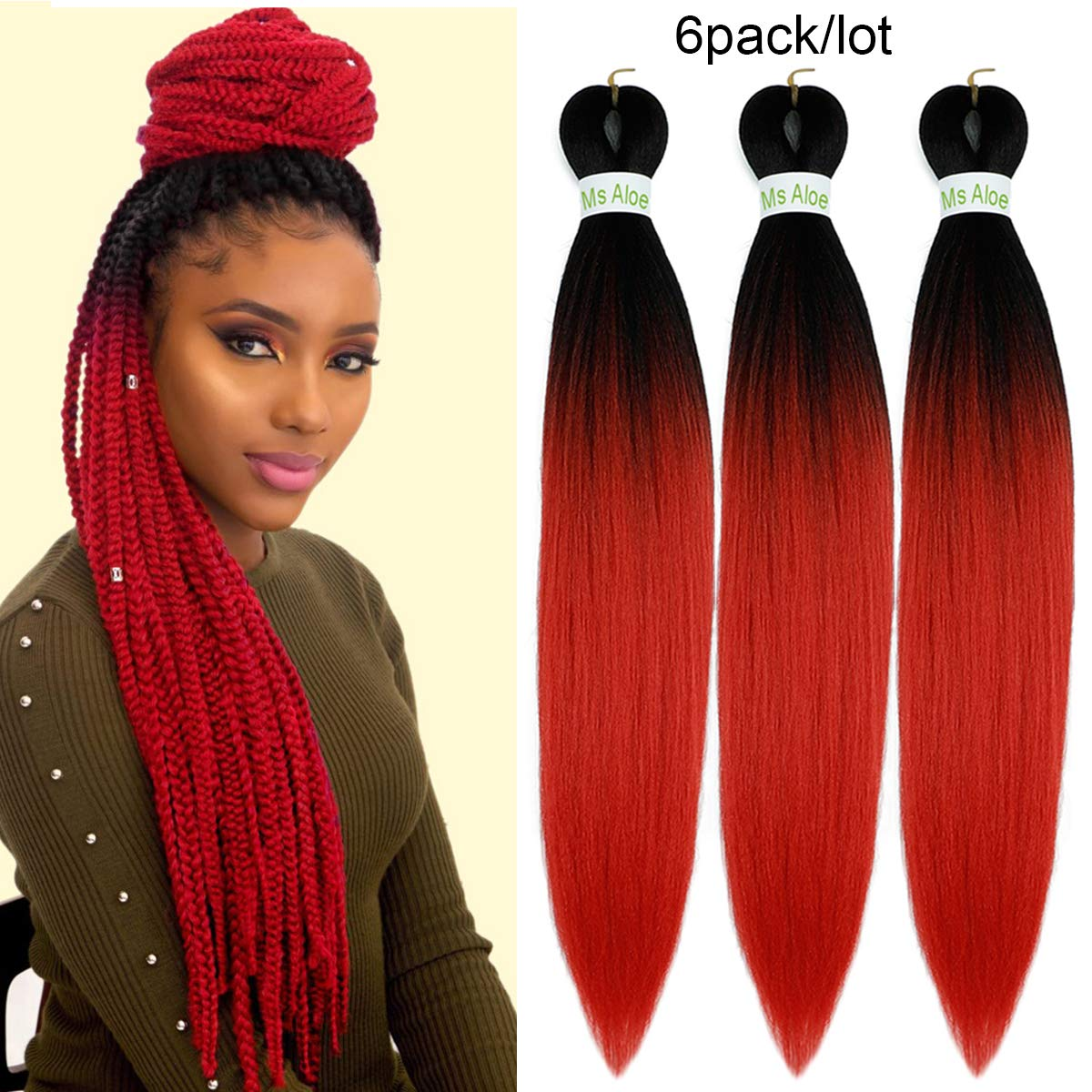 6pack Easy Braid Pre Stretched Braiding Hair Ombre Red Color 24inch Yaki Texture Ez Braids Hot Water Setting Synthetic Fiber Crochet Twist Soft Braiding Hair Extensions 1b Red Beauty