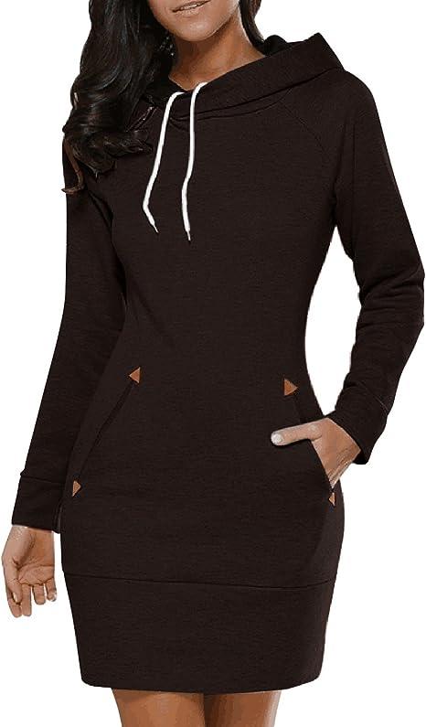 Lanisen Sudaderas con capucha de algodón de manga larga con capucha para mujer talla grande 6-22
