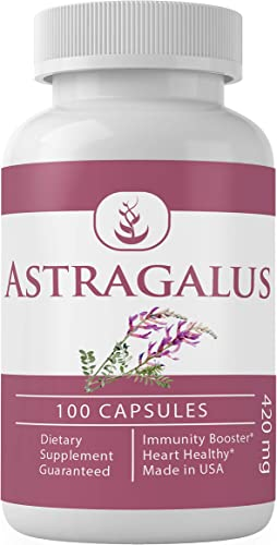 Astragalus Extract, 100 Capsules, 420 mg Serving, 100 Pure Natural, No Filler, Non-GMO, Made in USA, Cardiovascular Immunity Support, Lab-Tested Potency by Pure Organic Ingredients
