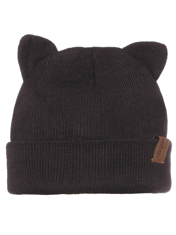 Amazon.com  Emmalise Kid s Cute Fuzzy Animal Look Double Pom Pom Ears Beanie  Winter Knit Hat 2831f7d81d9