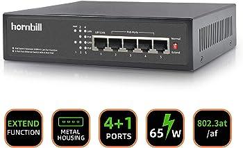 Hornbill 5 Port 65W Metal Power Over Ethernet Network Switch