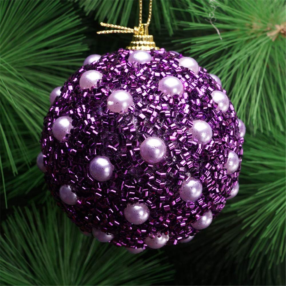 Chenway 1pc Christmas Balls Christmas Decoration 8CM Rhinestone Glitter Baubles Balls Xmas Tree Ornament Decoration DIY Christmas Tree Accessories (Purple)