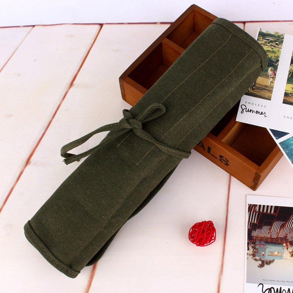 Wulirose 22/slot pennello Holder Army Green roll Up bag Holder custodia in tessuto per olio acrilico acquerello guazzo artista pennello