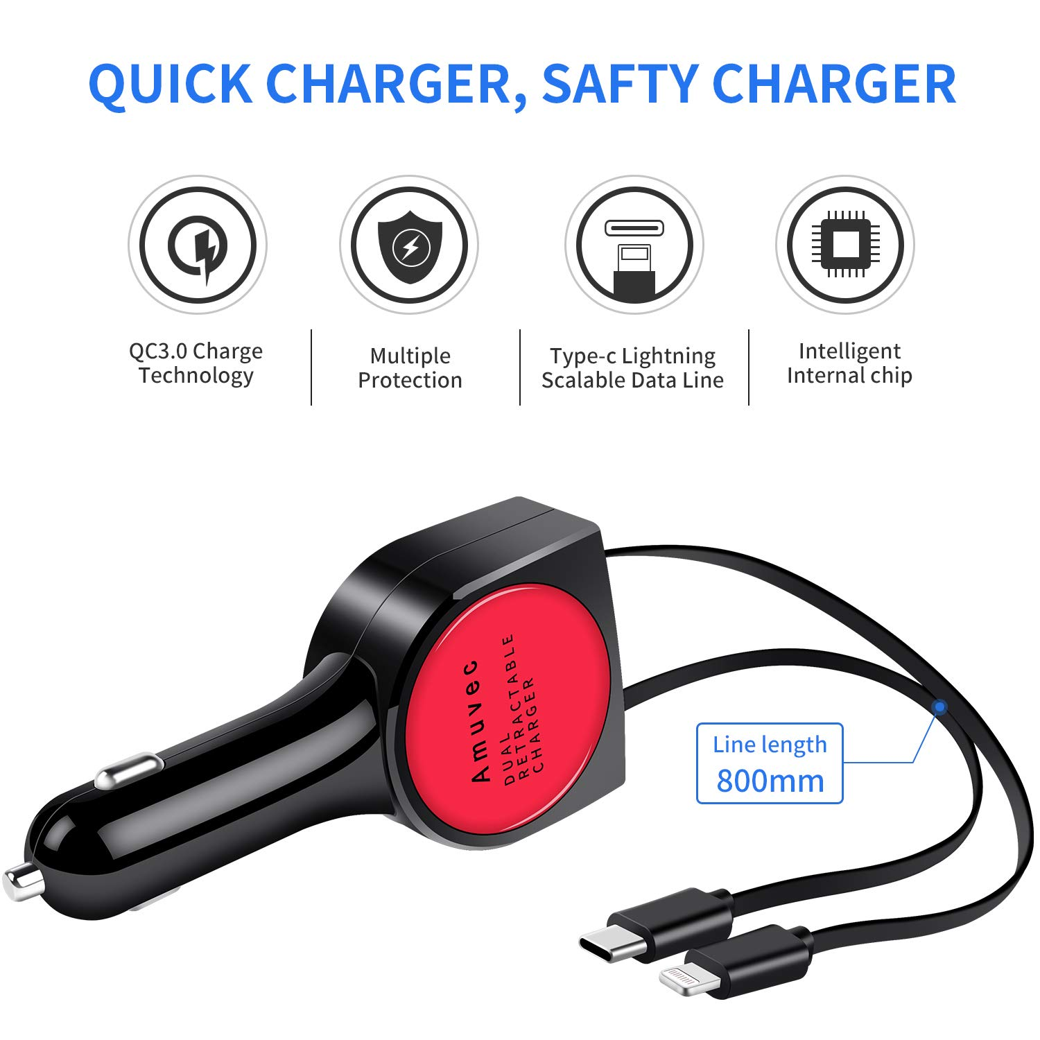 red and Phone Charging Cable QC3.0 6A//40W Fast Charging with 2.6ft Dual Retractable Type C Amuvec Car Charger and 2USB Ports.Compatible with Samsung Galaxy S9 S8 Google Pixel 2XL Nexus10 HTC and More