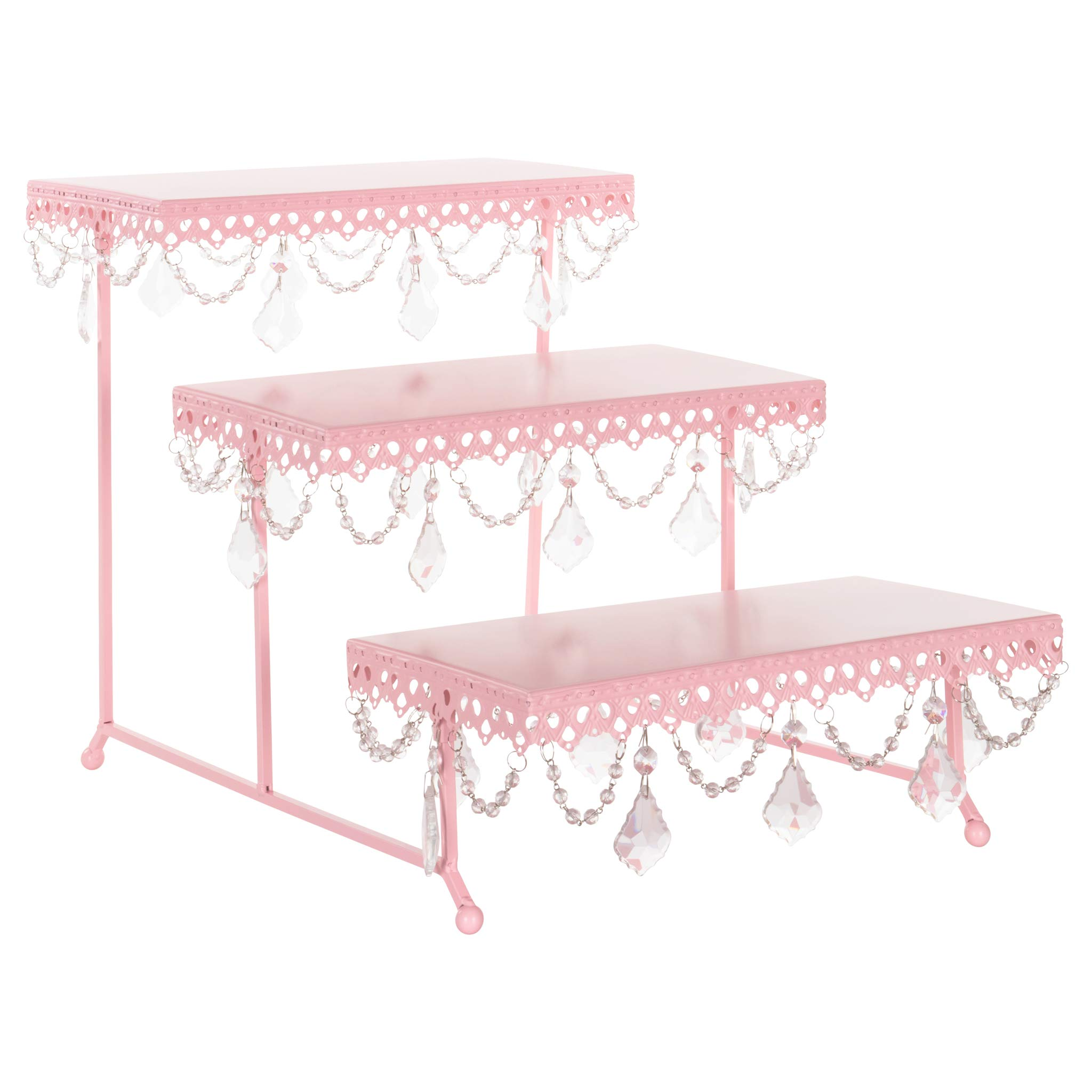 Amalfi Decor 3 Tier Dessert Cupcake Stand, Pastry Candy Cake Cookie Serving Platter for Wedding Event Birthday Party, Rectangular Metal Plate Tower Tray Holder with Crystals, Pink by Amalfi Décor
