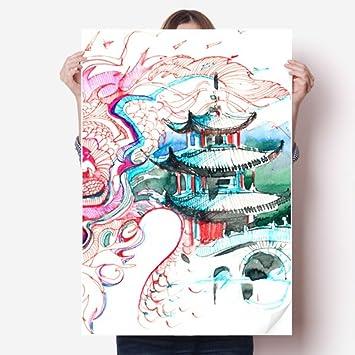 Diythinker Chine Dragon Bridge Dessin Chinois Vinyle Autocollant De