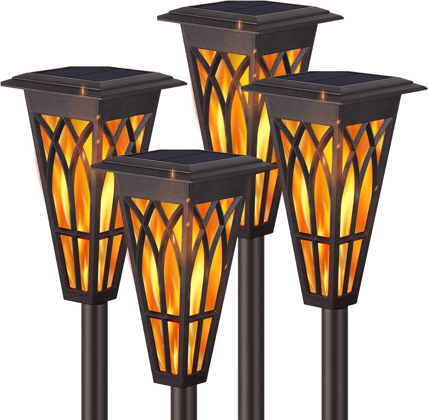 Solar Torch Lights – Solar Flame Torch Lights Outdoor 4 Pack 2 Modes Always-On/Flickering Flame Matte Lampshade Auto On/Off Pathway Lights Solar Powered Stainless Steel IP65 Waterproof Path/Beach/Yard