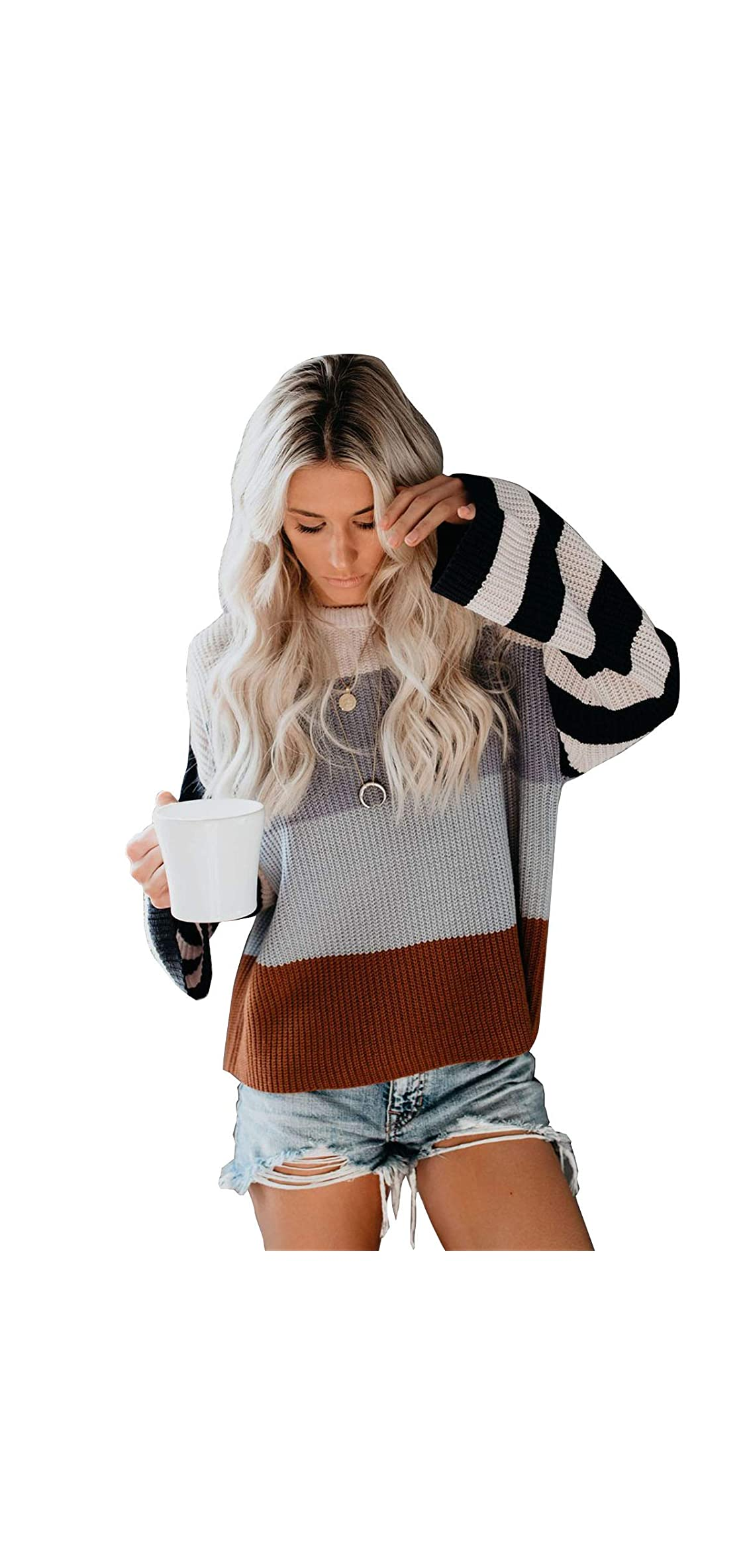 Womens Colorblock Sweater Crew Neck Casual Long Sleeve