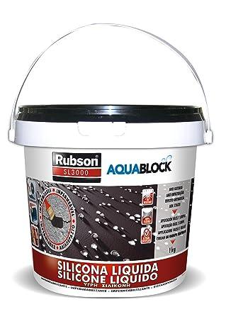 Rubson Aquablock SL3000, silicona líquida impermeabilizante color negro, 1 kg: Amazon.es: Bricolaje y herramientas