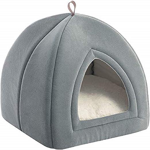 Oferta amazon: Bedsure Cama Gato Cueva Suave - Casa Gato Lavable con Cojín Desenfundable y Extraíble, Camas para Perros Pequeños 35x35x38cm, Gris Claro
