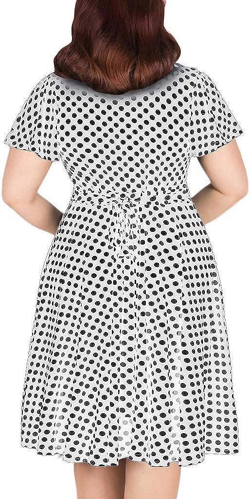 Womens Dresses Summer Casual Plus Size V-Neck Short-Sleeve Polka Dot Printed Boho Cocktail Beach Midi Dress