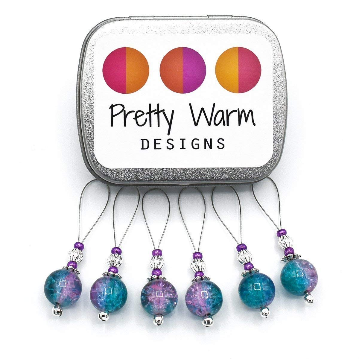 Turquoise and Pink Snag Free Stitch Markers Jewelry for Knitting (Set of 6 with Tin)