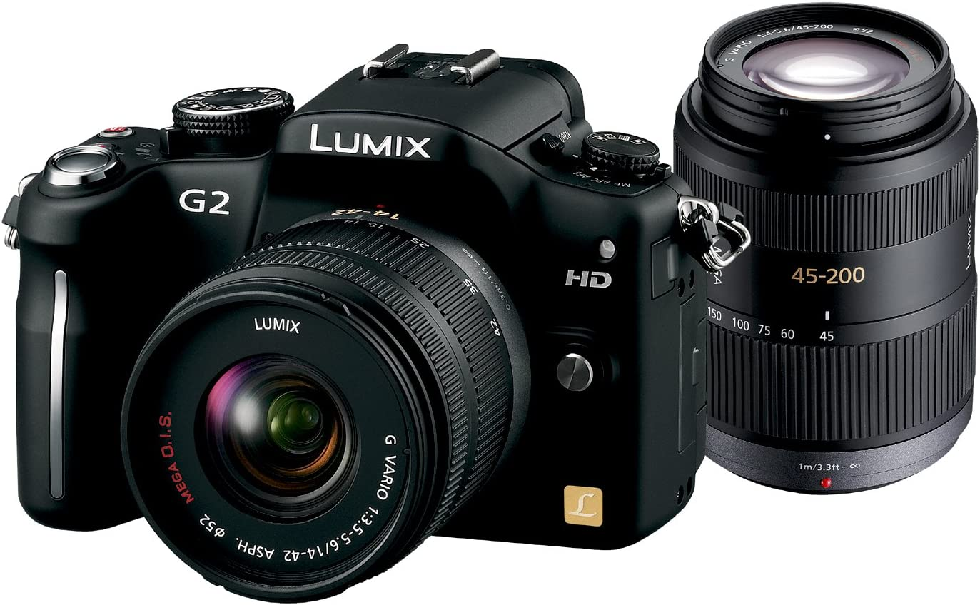 F3.5-5.6・45-200mm/ パナソニック F4.0-5.6付属) デジタル一眼カメラ DMC-G2W-K コンフォートブラック G2ダブルズームレンズキット14-42mm/