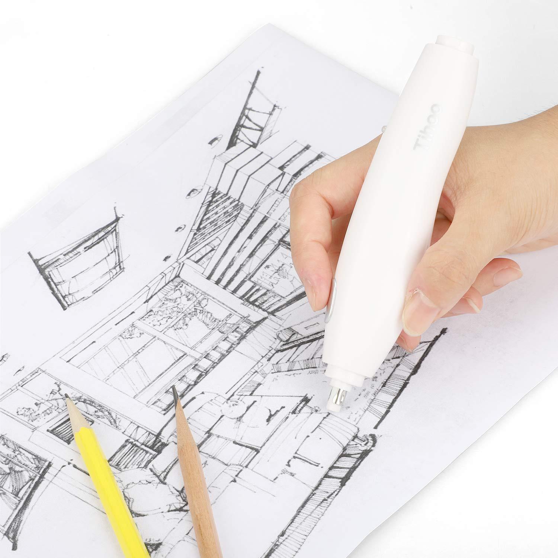 Profesionales y Artistas Blanco Recargable Gomas de Borrar Electricas con Recambios para Dibujo Ideal para Ni/ños Compacto y Ligero