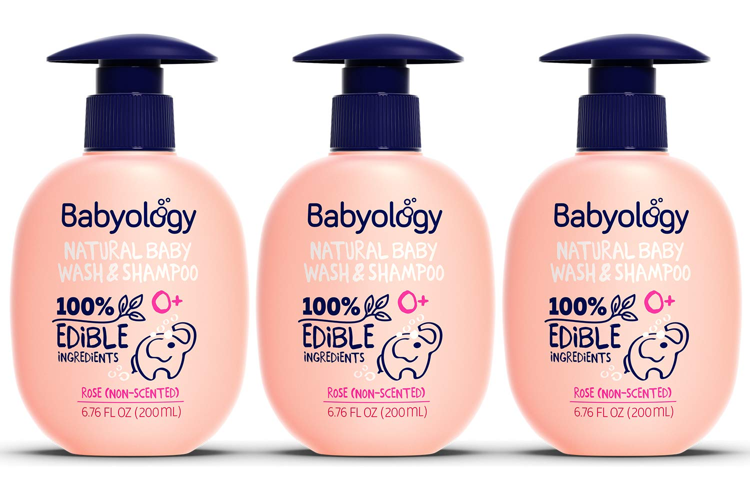 Babyology - 100% Edible Ingredients - Baby Wash & Shampoo - Non-scented (Organic Rose Water) - Clinically Tested - Tear-Free - 6,67 FL. OZ - Perfect Baby Shower Gift (3 Pack) by Babyology
