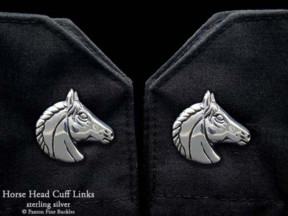 Horse Head Cuff Links in Solid Sterling Silver Hand Carved & Cast by Paxton