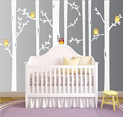 Nursery Birch Tree Wall Decal Set With Owl Birds Forest Vinyl Sticker Birch Tree Wall Decal Birch Tree Decal Baby Boy Whimsical Owls 7 Trees 1321