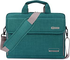BRINCH Laptop Bag Oxford Fabric Portable Notebook Messenger Bag Shoulder Briefcase Handbag Travel Carrying Sleeve Case w/Shoulder and Luggage Strap for Men Women Compatible 17-17.3 Inch Laptop, Green