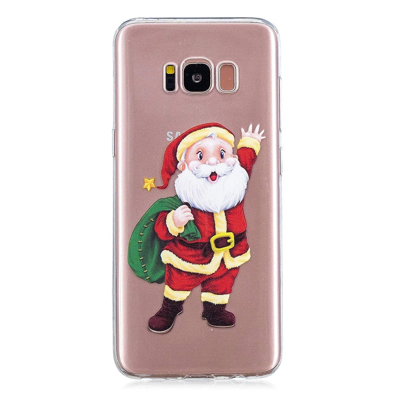 Ostop Rot Weihnachten Samsung Galaxy S8 Plus Hü lle, Weich TPU Silikon Kristall Klar Ultra Dü nn Handyhü lle Schneeflocke Elch Schö n Muster Abdeckung Transparent Kratzfest Schutzhü lle