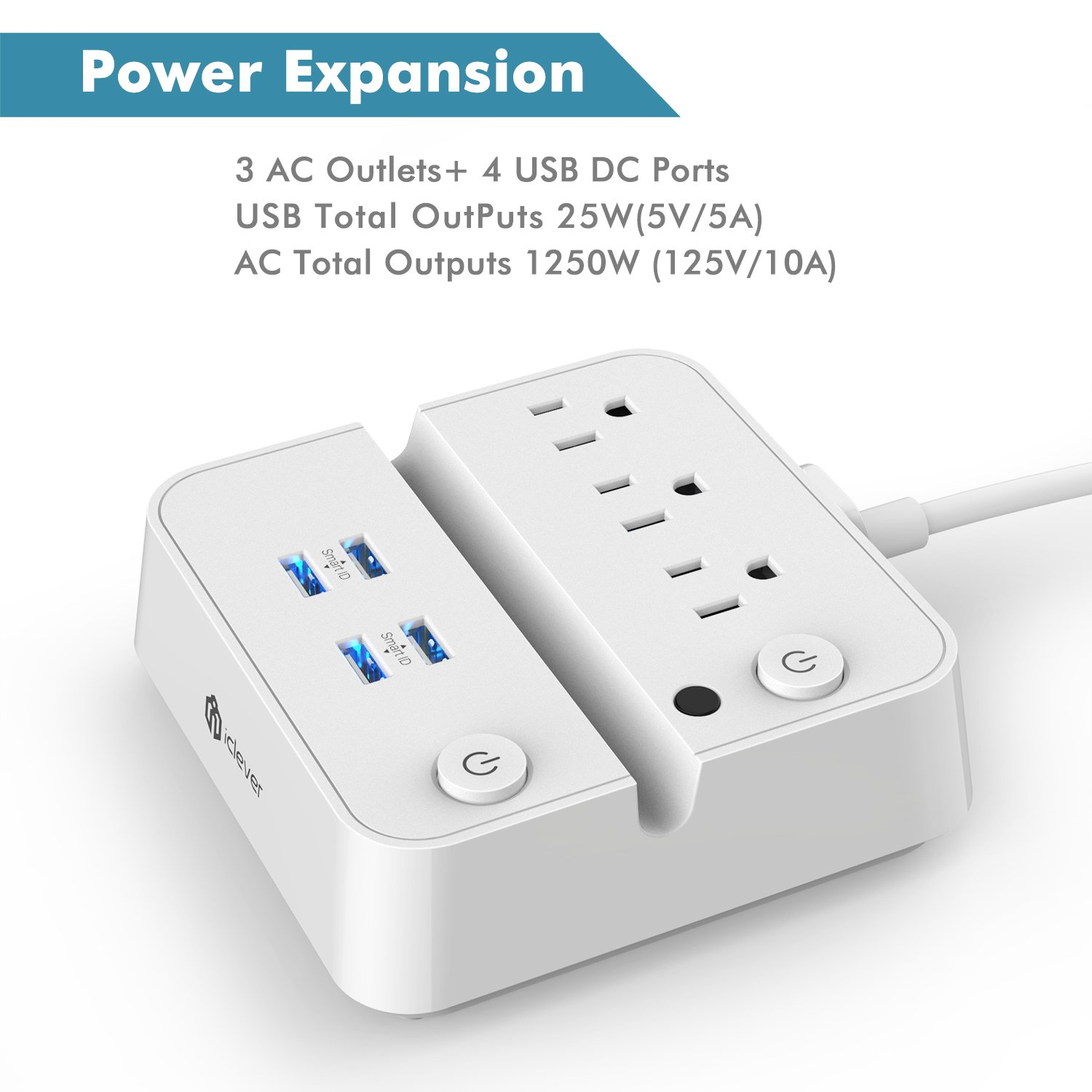 [Separate Switch Control] iClever BoostStrip IC-BS02 Smart Power Strip | USB Charger with 4 USB + 3 AC Outlets, Dual Switch Control Charging Station and Phone/Tablet Stand - White by iClever (Image #2)