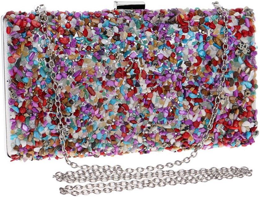 Kentop Bolsas de Embrague para Mujer con Piedra Incrustada Coloreado Bolso de Noche para Boda Partido Fiesta