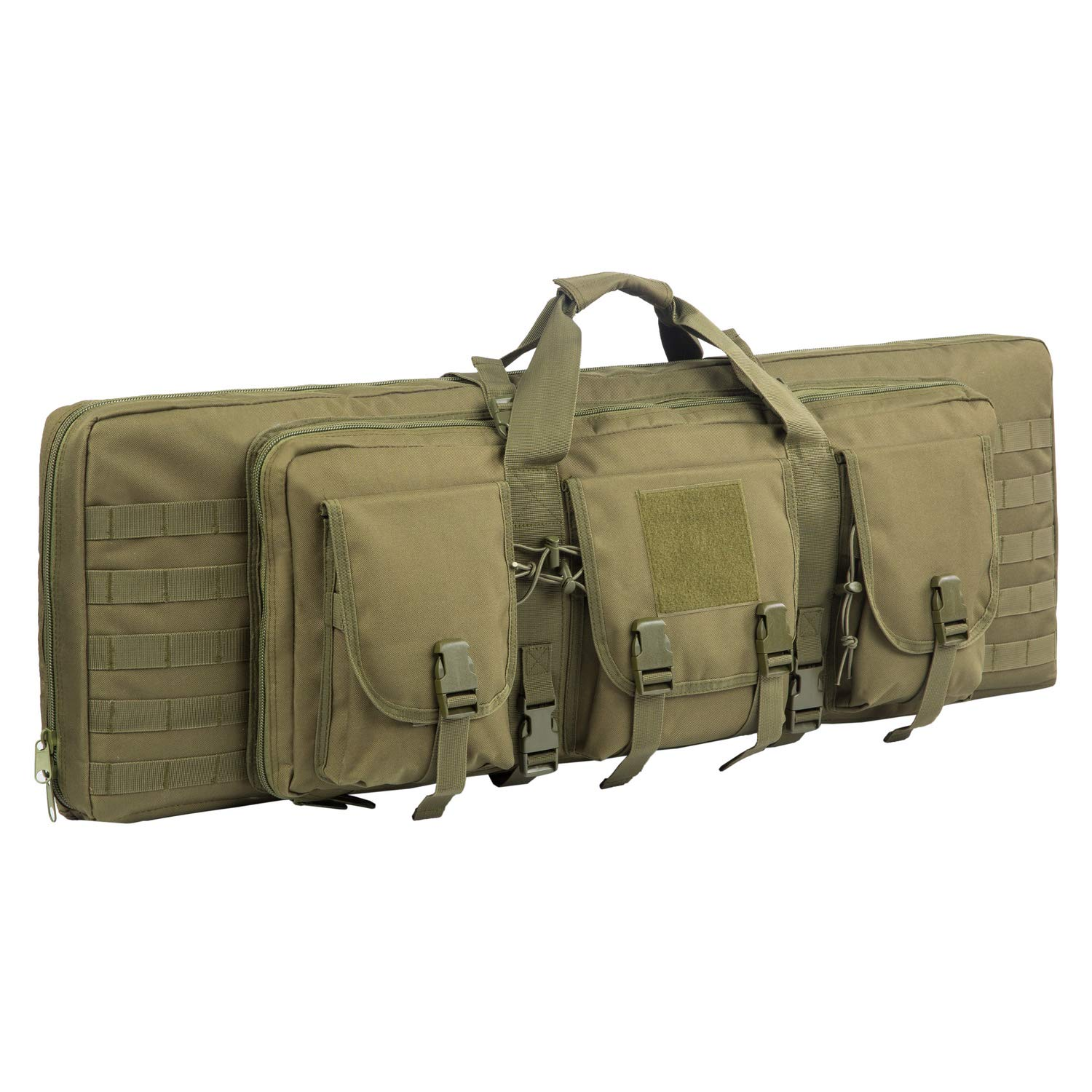 WolfWarriorX Double Long Rifle Gun Case Bag Tactical Carbine Cases Water Dust Resistant Firearm Shotgun Bag Outdoor MOLLE Hunting Shooting Storage Transport, Available in 38'' 42''  (Green, 38inch) by WolfWarriorX