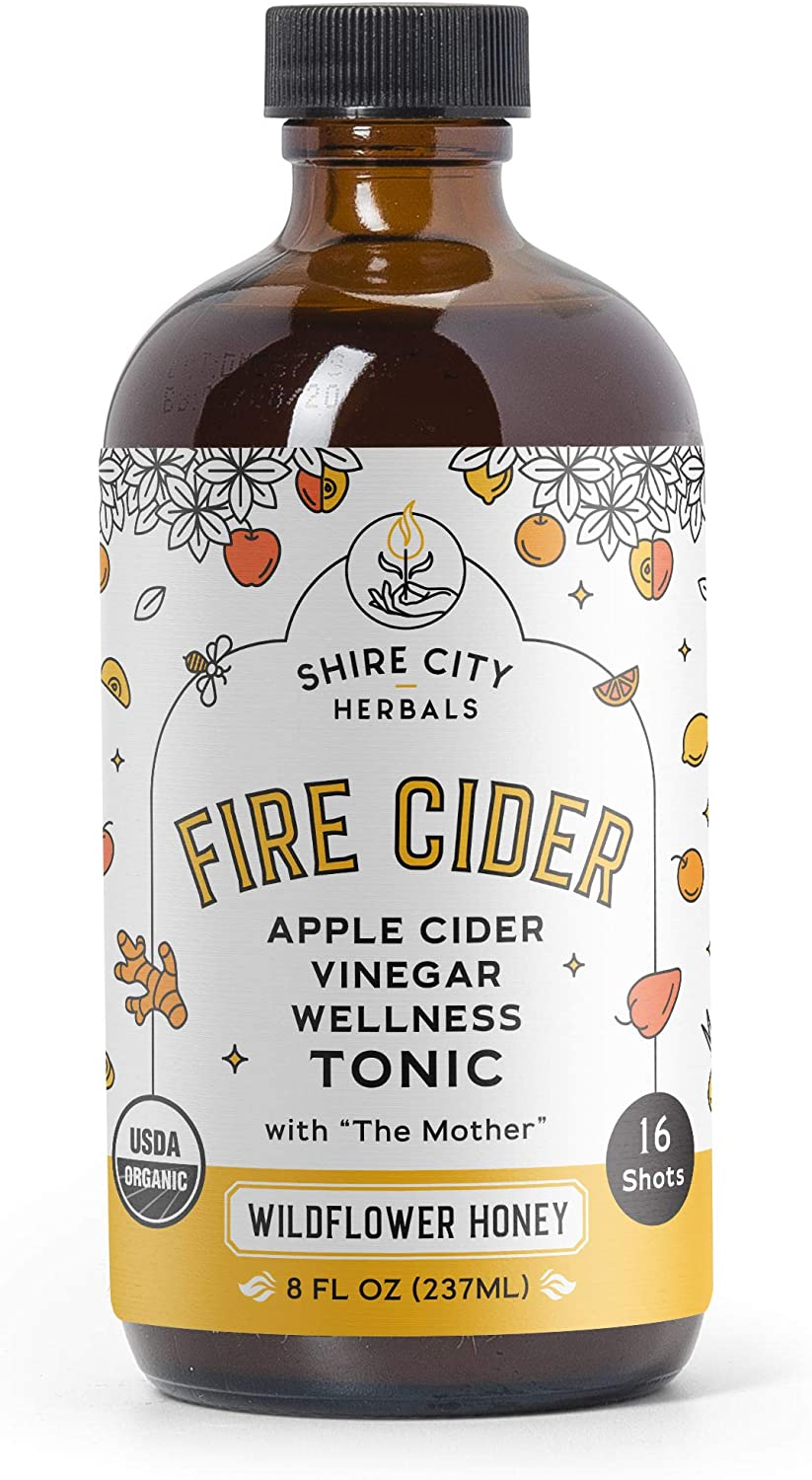 Fire Cider, Tonic, 8 oz, Wildflower Honey flavor, 16 Daily Shots, Apple Cider Vinegar, Whole, Raw, Organic, Not Heat Processed, Not Pasteurized, Not Diluted, Paleo, Keto, Whole 30.