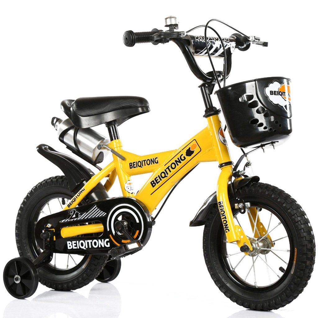 Gelb 88CM LiuJF-Fitness Equipment Metall Fahrrad, Jungen Und Mädchen Fahrrad Fahrrad Kindheit Persönliche Fahrrad 2-11 Jahre Altem Baby Hilfsrad Fahrrad 88-121 cm