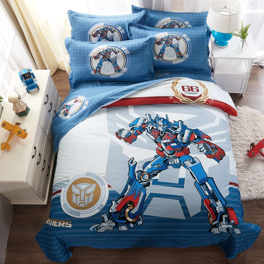 Casa 100% Cotton Kids Bedding Set Boys Optimus Prime Duvet Cover and Pillow Cases and Fitted Sheet,4 Pieces,Full