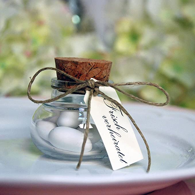 Segnaposto Matrimonio Boccette.12 Boccette Di Vetro Con Tappo Per Regali Per Gli Ospiti Con 20