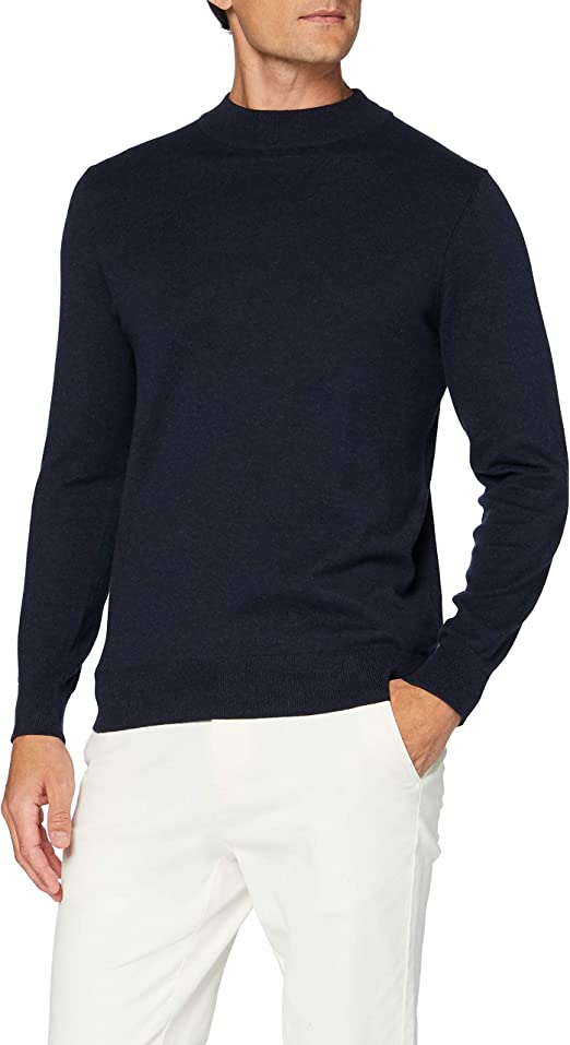 Marca MERAKI Jersey de Algod/ón con Cremallera Hombre Navy Denim Label: L L Azul