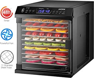 Aicook Dehydrator, Premium Food Dehydrator Machine with 11 Stainless Steel Trays, 48hour Digital Adjustable Timer/Temperature Control, Dryer for Beef, Jerky, Fruit, Herb, Dog Treats, ETL Listed/FDA Compliant
