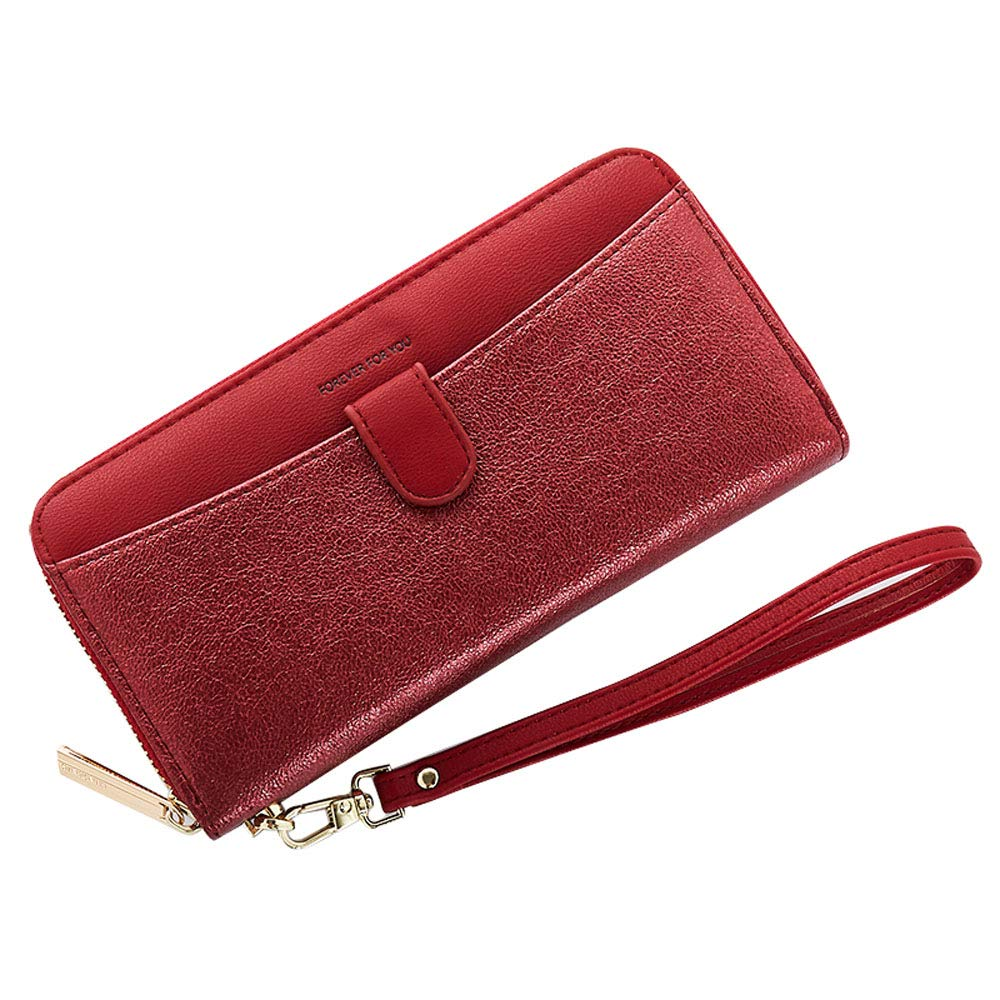 Cyanb Women Bifold Clutch Wallets Iphone Wristlet Purses for Women Lady with Zipper and Wrist Strap Wine Red