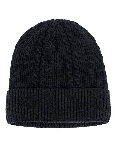 new style f881e d43f0 Dahlia Men s Angora Cable Knit Beanie for Larger Head, Velour Lined, Black