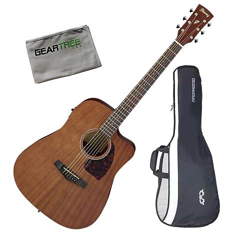 Ibanez pf12mhceopn Dreadnought superior de caoba acústica guitarra eléctrica OPN W/gamuza de geartree y