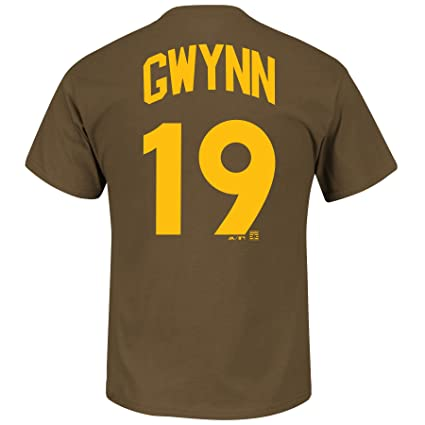 separation shoes 1c838 c8054 Majestic Tony Gwynn San Diego Padres Brown Cooperstown Player Jersey Name  and Number T-shirt