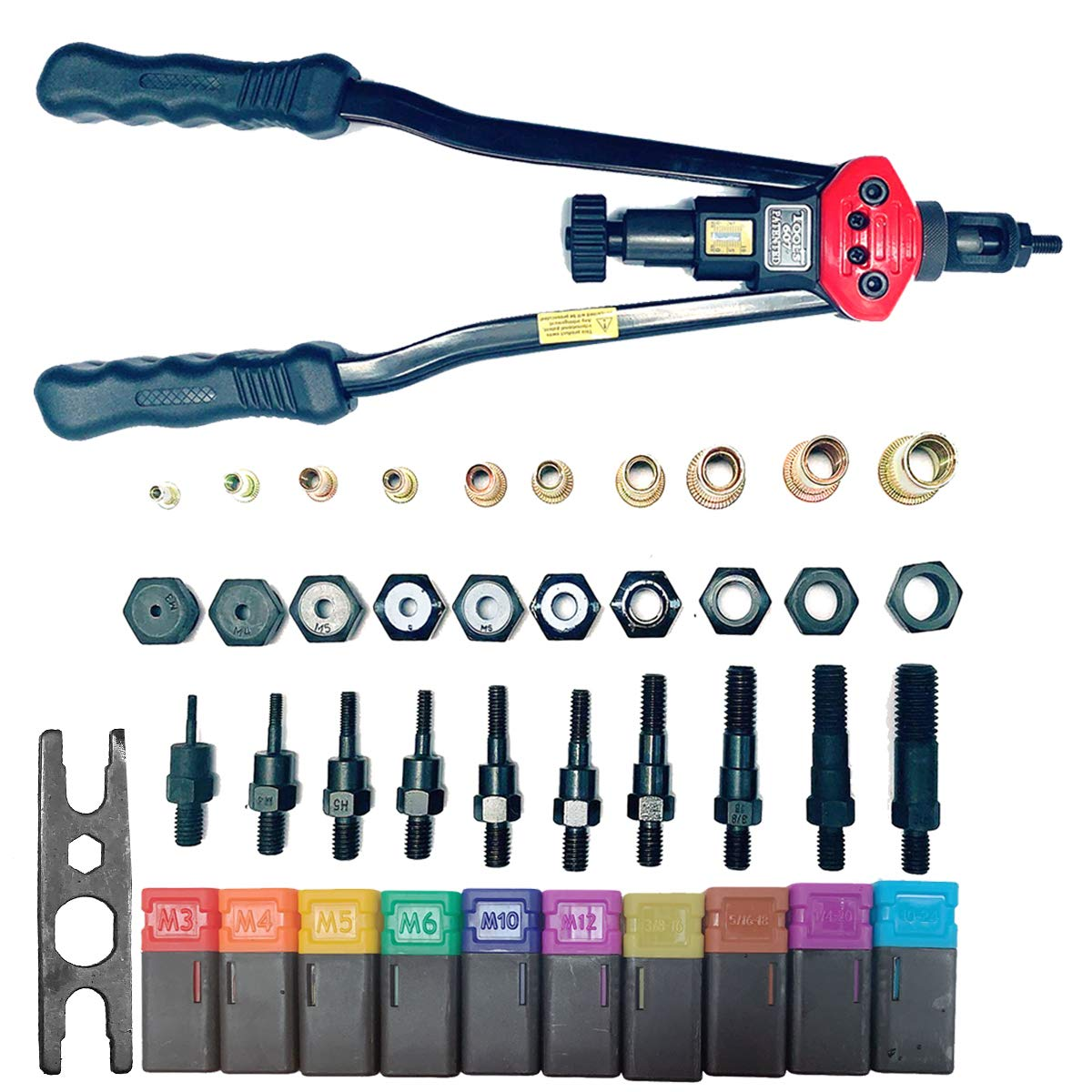 Cozyel 16'' Hand Riveter Rivet Gun Professional Installation kit Including 11 Interchangeable Mandrel (M3 M4 M5 M6 M8 M10 M12 SAE 10-24, 1/4-20, 5/16-18, 3/8-16) with 110 PCS Rivets Nuts by Cozyel