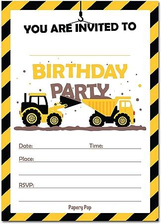 amazon construction trucks birthday invitations with envelopes 15