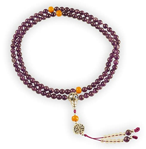 Hands Of Tibet Tibetan Yoga Meditation Mala Amethyst Healing Mala Necklace